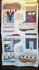 Vintage Fabric Panel Primitive Sampler Christmas Stockings 4 Angel Snowman Tree