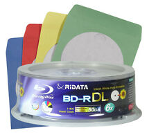 5 RIDATA Blu Ray BD-R DL 6x Speed Rohlinge 50GB Full Printable Disc