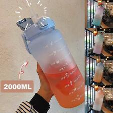 2L Large Water Bottle Straw Time Marker Sport Large Portable Motivational