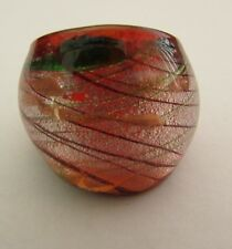 Glass Ring. Uk-Q. Us-8. (9!) A Red/Silver/Green & Copper Murano Style