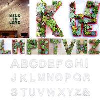 Alphabet Iron Wire Wreath Frame Succulent Pot Metal Planter Plant Holder A-Z