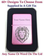 Personalised Engraved lighter, Pink Pearl + Gift Tin.72 Design choices.UK Stock