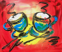 COFFEE CUPS   original oil painting TEXTURED MODERN ABSTRACT UNIQUE STYLE  SD63