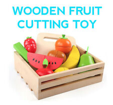 Wooden Fruit Cutting Toy Pretend Play Kitchen