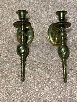 "Pair of Vintage Brass Wall Mount Candle Holder Sconce Candlesticks 10"" Long"