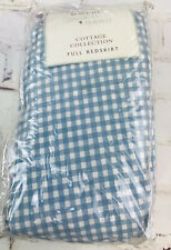 Waverly Full Bedskirt Blue Gingham Plaid Hillside Cottage Collection 100% Cotton