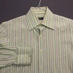 *HUGO BOSS GREEN++ STRIPE 100% COTTON DRESS SHIRT EXCELLENT COND. SZ 15.5-34/35