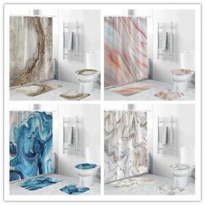 Marble Grain Shower Curtain Bathroom Rug Set Bath Mat Non-Slip Toilet Lid Cover