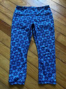 S Womens Reebok High Waist Blue Geometric Shapes Capris Leggings Yoga Activewear