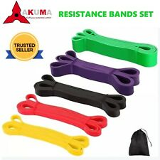 Set of 5 Heavy Duty Resistance Band Loop Power Gym Yoga Exercise Fitness Workout