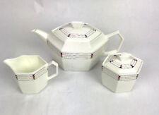 MIKASA Staccato Tea Pot , Creamer and Sugar Bowl Set Bone China Japan ,Rare