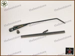 """WILLYS JEEP WINDSHIELD WIPER ARM 12""""(right bend)+ BLADE FOR ELECTRIC WIPER MOTOR"""