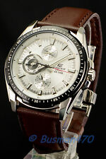 Casio Edifice EF-336L-7 Analog Gents Dress Men's White Watch 100% Original New