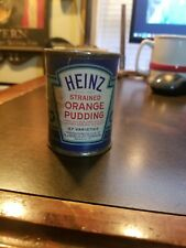 Vintage Heinz 57 Strained Baby Food Paper label Tin Can~ Strained Orange Pudding