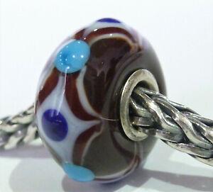 Trollbeads Glas Braun mit Weiße und Blaue Muster und 925 Silber Unikat Schön!