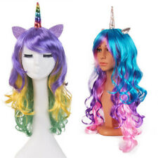 MA Unicorn Colorful Wig Cosplay My Little Pony Rainbow Resistant Synthetic HairO