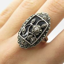 925 Sterling Silver Real Black Onyx Marcasite Gemstone Wide Floral Ring Size 7.5