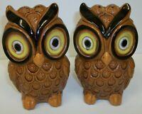 Large Vintage Pottery Owls Hand Painted Range Salt & Pepper Shaker Set Japan
