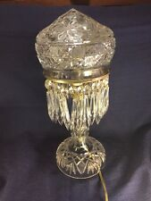 CUT CRYSTAL PRISM DECORATED MUSHROOM TOP BOUDOIR BEDROOM LAMP antique vintage