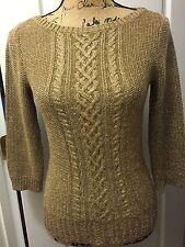 LAUREN Ralph Lauren Sweater Gold Metallic Shimmer Sz Petite/Small