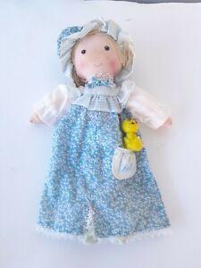 "Vintage Holly Hobbie 9"" Cloth Rag Doll Blue Dress Holly Hobby"