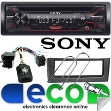 FIAT GRANDE PUNTO Sony CD MP3 USB AUX STEREO AUTO VOLANTE & Grigio Cruscotto Kit