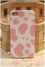 Cover custodia rigida iphone 4 e 4s fantasia muccata bianca e rosa
