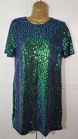 Motel Rocks Green Sequin Shift Dress Size S Small