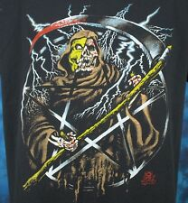 vintage 80s GRIM REAPER PAPER THIN T-Shirt L/XL pentagram skeleton satan biker
