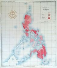PHILIPPINE ISLANDS - EARTHQUAKES DISTRIBUTION  1899 Original Antique Map