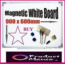 MAGNETIC DRY WIPE WHITE BOARD NOTICE 90 X 60CM + FREE ACCESSORIES LARGE QUALITY
