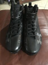 NEW MEN'S UNDER ARMOUR HARPER ONE MID ST BLACK BASEBALL CLEATS Size 10 $130