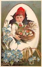 PFB Child Delivering Eggs Decorated in Easter Basket L2438 Antique Postcard
