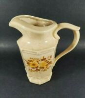 Vintage McCoy Pottery 7534 Small Pitcher Speckled Oatmeal Tan w/ Yellow Flowers.