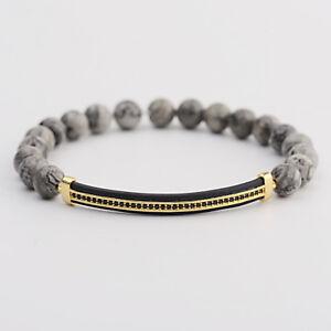 Men Women Micro Pave Gold Plated Strip Beads Lava Landscape Stone Bracelets Gift