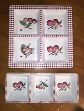 Set Of 2 Pfaltzgraff Delicious Apples Gingham Melamine Divided Serving Trays