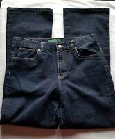 Ralph Lauren Womens Sz 12 Classic Bootcut Dark Wash Stretch Denim Blue Jeans