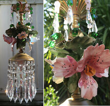 Porcelain Capodimonte pink ORCHID Brass tole chandelier Swag vintage lamp 1of2