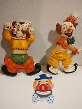 Vintage - Homco - 2 Clown Wall Hangings & 1 nonbrand clown switch plate