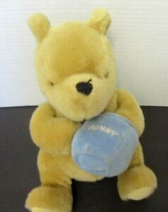 "Gund Classic Winnie the Pooh Plush Musical Wind Up Blue Honey Pot Hunny 9"""