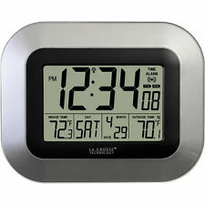 La Crosse Atomic Wall Clock Wireless Outdoor Temperature Sensor Silver US Seller
