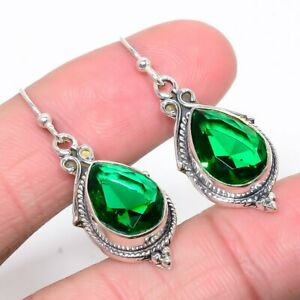 """Russian Chrome Diopside Vintage 925 Sterling Silver Earring Jewelry 1.58"""" M2232"""