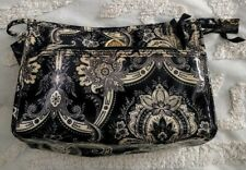Anna Griffin leather like balck and cream color cosmetic make-up bag pouch