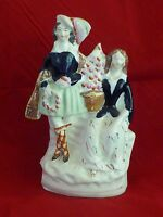 Rare Antique Victorian Staffordshire Figure of a Courting Scottish Couple c1860