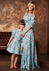 Womens Girls Long Rose Dress Family Mother and Daughter Off shoulder Floral