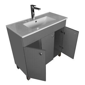 Waschtisch mit Unterschrank IGA Waschplatz Waschbeckenschrank Graphit 80 Keramik