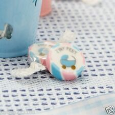 baby shower christening party tiny feet pink & blue 10 rock sweets favours
