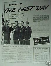 1945 U.S. Army Pay Scale Enlisted~Reenlist WWII Last Day War Forces 10 x 13.5 AD