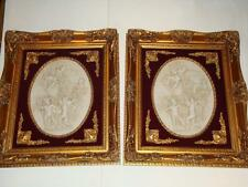 MAGNIFICENT PAIR OF FRAMED ESTATE BISQUE PORTRAITS W/ CHILDREN WITH RED VELVET!!