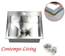"New listing 19"" Topmount Drop In Zero Radius Kitchen Island Bar Prep Sink 16 Gauge"